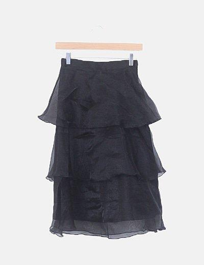 Falda de gasa volantes negro