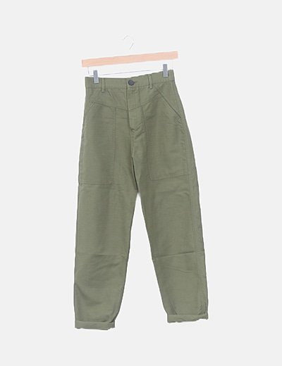 Pantalón baggy denim verde