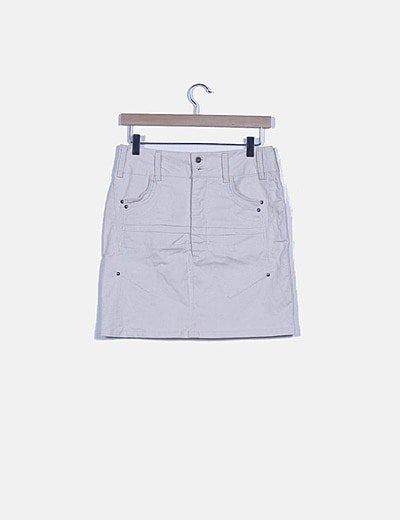 Falda midi texturizada beige