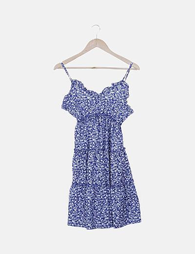 Vestido tirantes estampado floral azul