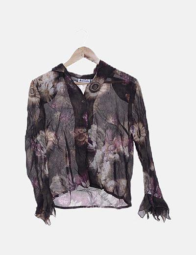 Conjunto camisa y falda midi floral