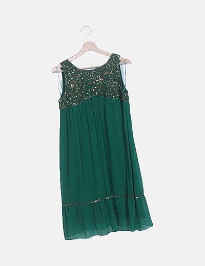 Vestido verde fluido lentejuelas