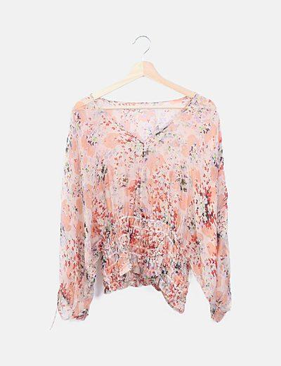 Blusa seda rosa floral
