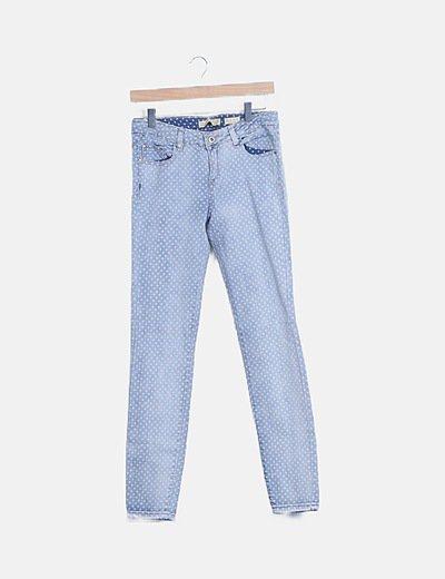 Jeans denim claro topos