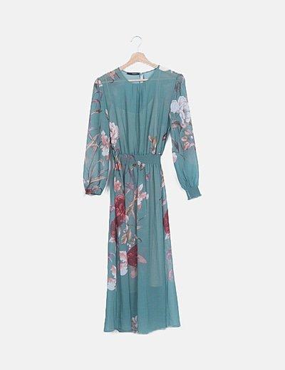 Vestido gasa verde floral