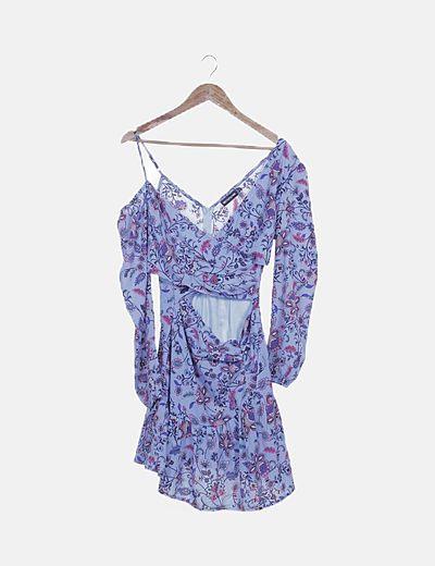 Vestido azul estampado con aberturas