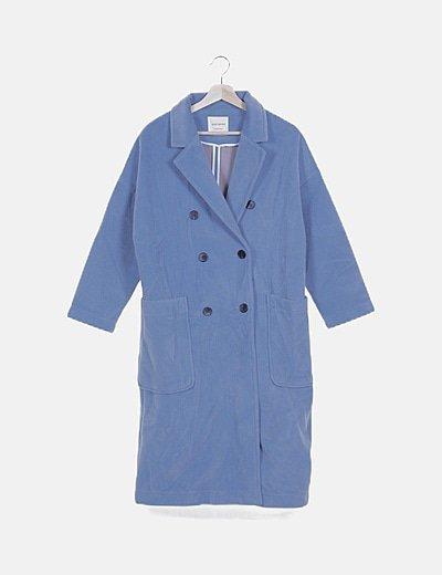 Abrigo largo paño azul
