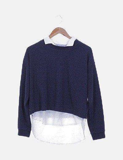 Jersey azul marino cuello camisa