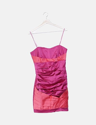 Vestido rosa drapeado