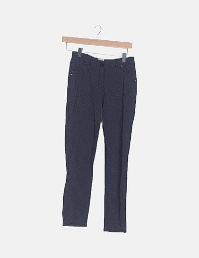 Pantalón chino azul marino con topos