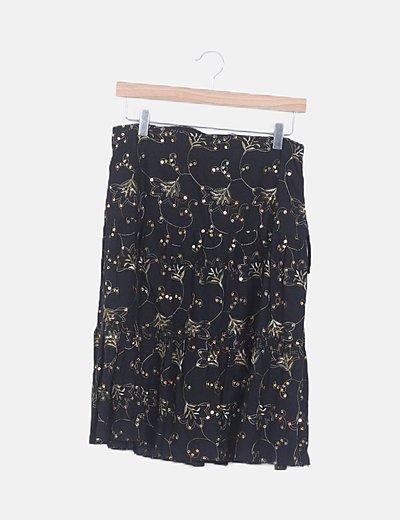 Falda midi negra con paillettes