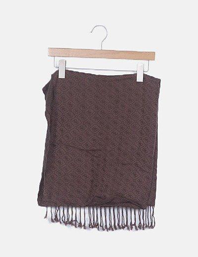 Bufanda tricot marrón estampada