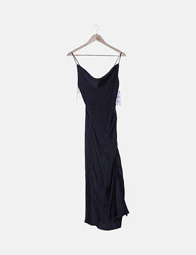 Vestido maxi de tirantes negro detalle drapeado