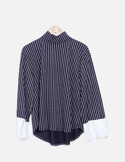 Blusa negra rayas manga camisera