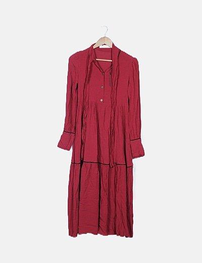 Vestido maxi rojo ribete negro