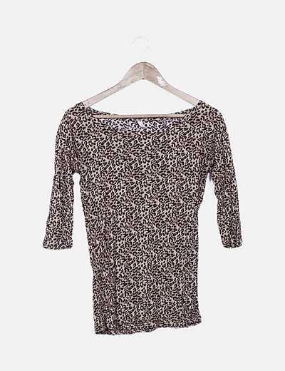 Camiseta manga francesa estampado animal print