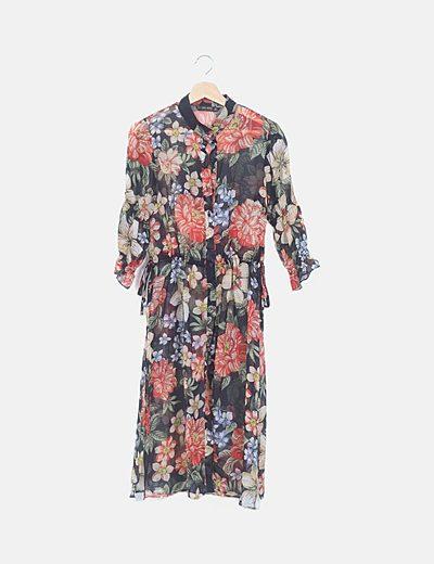 Vestido semitransparente estampado floral