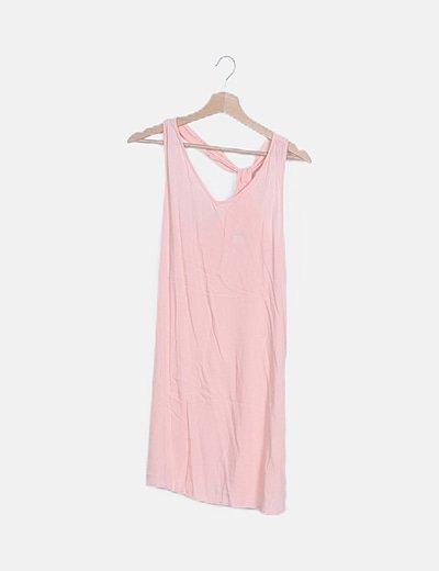 Vestido rosa palo detalle drapeado