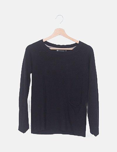 Jersey negro tricot detalle bolsillo