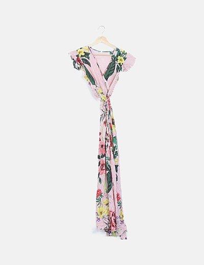 Vestido floral rayas
