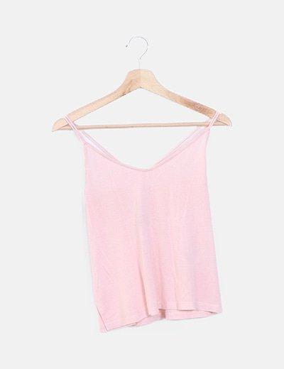 Camiseta rosa doble tirante