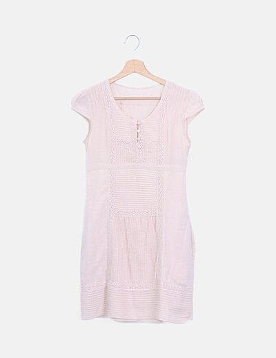 Vestido rosa palo detalle plisado