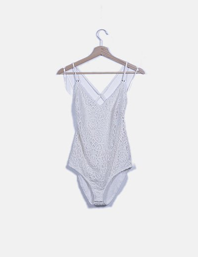Body crochet beige estampada lace up