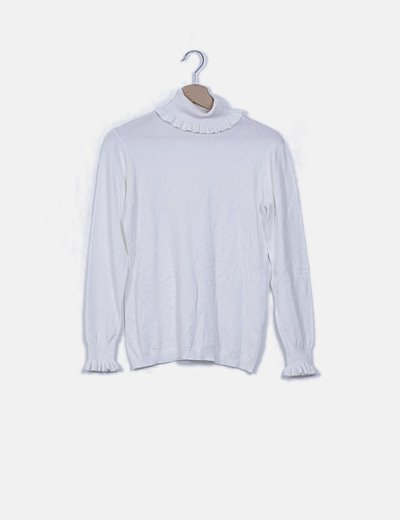 Jersey blanco ribetes plisados