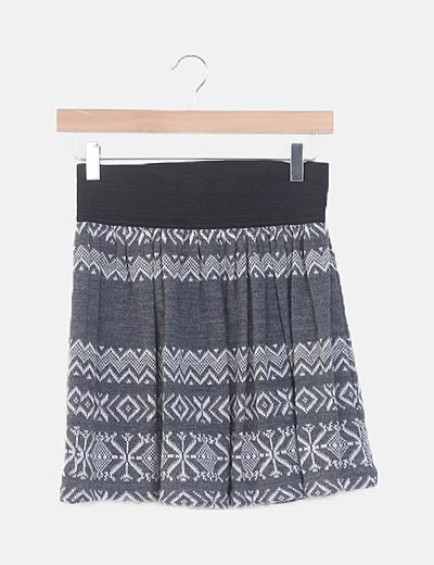 Falda mini punto gris cintura goma