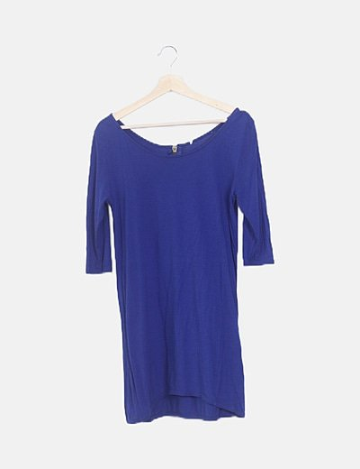 Vestido fluido azul detalle cremallera