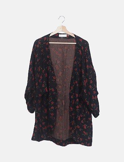 Kimono negro print floral