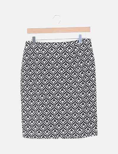 Falda bicolor estampada
