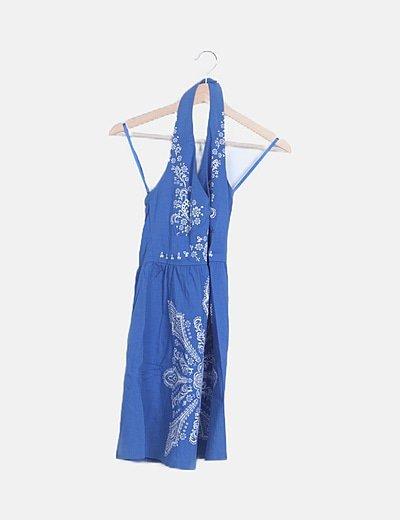 Vestido azul halter estampado floral