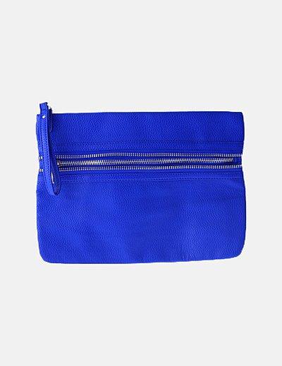 Bolso de mano azul detalle cremalleras