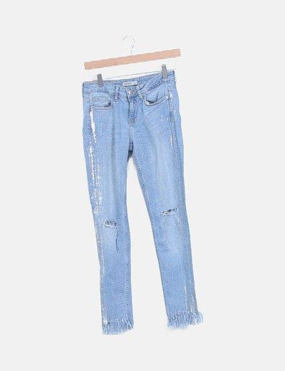 Jeans denim azul ripped desflecado