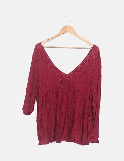 Camiseta burdeos crochet
