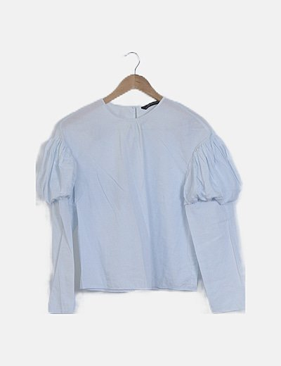 Blusa manga abullonada azul
