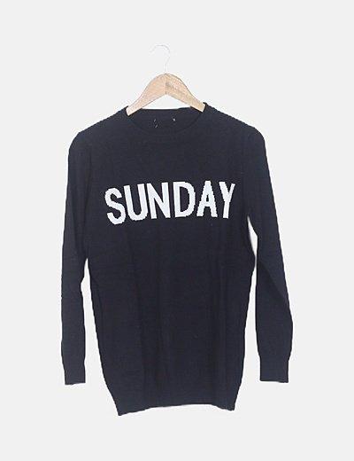 """Suéter negro """" sunday"""" manga larga"""