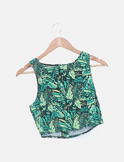 Conjunto crop top falda estampado tropical