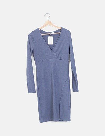 Vestido gris irisado escote cruzado
