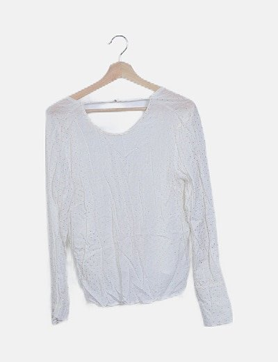 Blusa blanca strass dorado manga larga