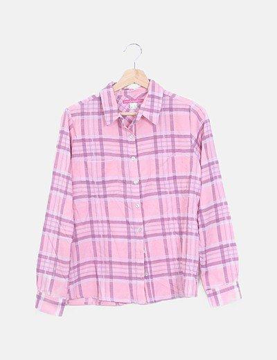 Camisa cuadros rosa manga larga