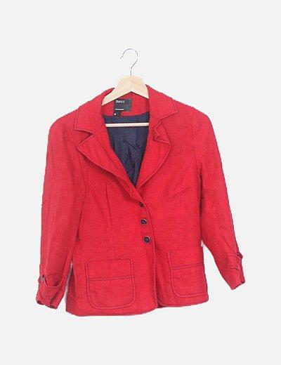 Blazer roja lino manga larga