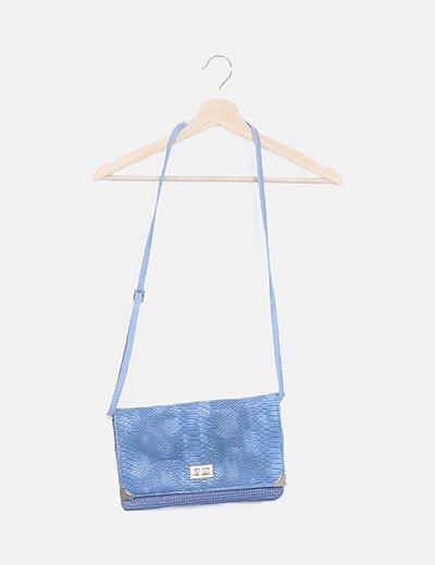 Bolso azul bandolera texturizado