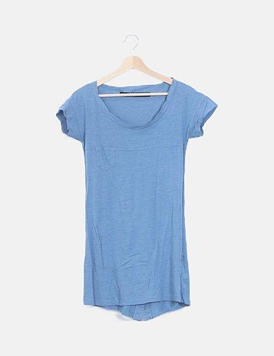 Vestido mini azul manga corta