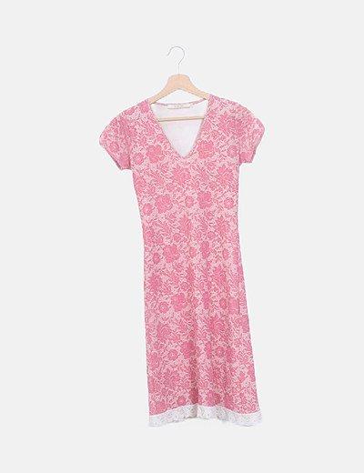 Vestido midi rosa floral combinado