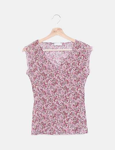 Camiseta gasa floral manga corta