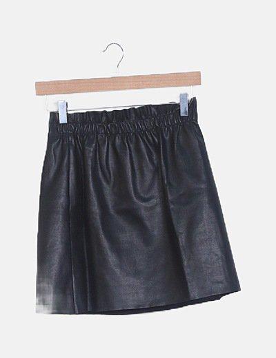 Mini falda paperbag polipiel negro