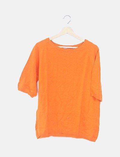 Suéter tricot naranja manga corta