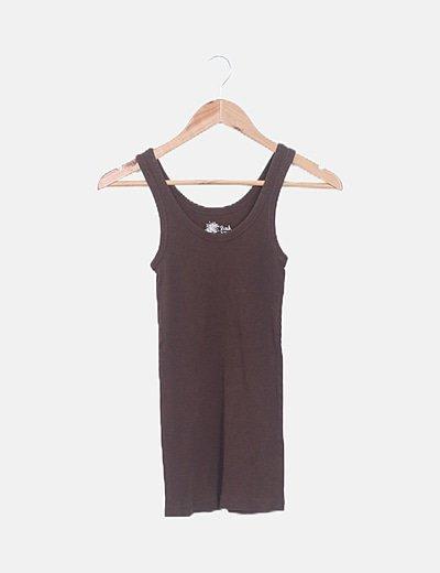 Camiseta básica canalé marrón